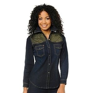 Diane Gilman DG2 Stretch Denim Studded Shirt Medium