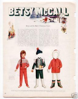 Vintage Betsy McCall Birds Xmas Carol Paper Dolls 1969