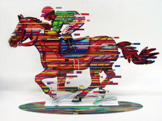 David Gerstein Modern Art Jockey Horse Rider Racer Metal Art Sculpture