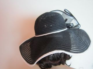 Giovannio Womens Black White Kentucky Derby Large Brim Church Hat