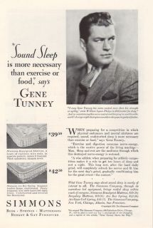 1929 Gene Tunney Heavyweight Champion Boxer Fighter Marine Simmons Ad