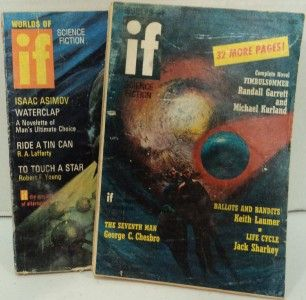 Worlds of If Science Fiction Pulps Magazines Lot 2 1970 Vintage Issues