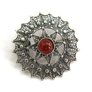 Sterling Silver Gemstone Artisan Filigree Brooch Pin