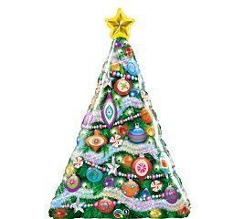 Giant 39 Decorated Christmas Tree Holiday Party Mylar Balloon
