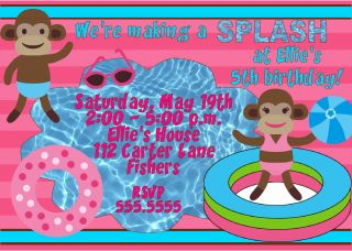 Personalized Mod Monkey Pool Party Swimming Waterpark Girl Birthday