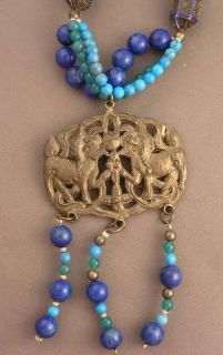 Antique Chinese Foo Dog Medallion Beads Necklace Lapid Turquoise Green