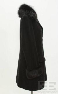 Giuliana Teso Black Wool Cashmere Fox Fur Trim Coat Size 44