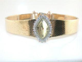 Geneve Ladies Diamond 14kt Yellow Gold Wristwatch Watch