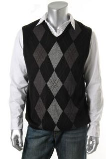 Geoffrey Beene New Black Argyle Ribbed Trim V Neck Casual Sweater Vest