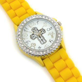 Mens Womens Cross Silicone Geneva Rubber Band Crystal Bezel Watch w