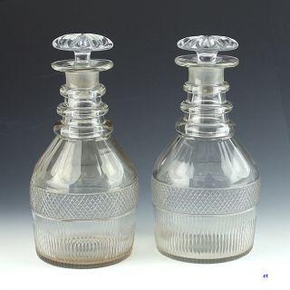 Pair 18th Century English Cut Glass Liquor Decanters