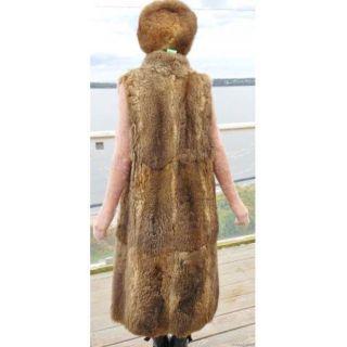 Oppossum Fur Vest Jacket Coat Full Length Natural Gray Browns M L XL