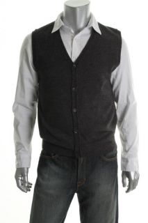 Geoffrey Beene New Gray Ribbed Trim V Neck Button Down Sweater Vest s