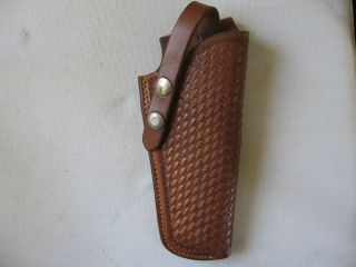 VINTAGE GEORGE LAWRENCE CUSTOM BASKETWEAVE LEATHER GUN PISTOL HOLSTER
