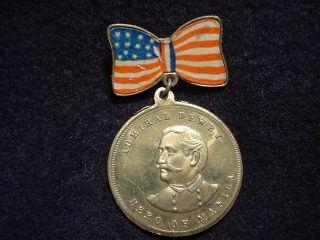 Admiral George Dewey, Hero Of Manila, Remember The Maine Souvenir Pin