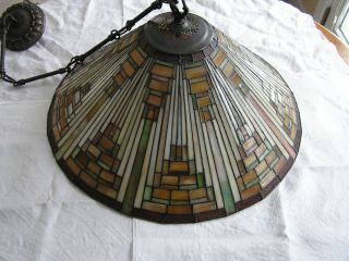 Vintage QUOIZEL Tiffany MISSION STAINED GLASS Pendant CHANDELIER Light