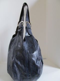 Glen Arthur Blue Python Shoulder Bag Purse Tote Hobo