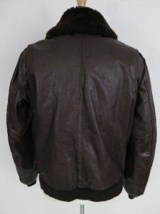 Gino Leathers Faux Fur Leather Bomber Flight Jacket Mens 44T Excellent