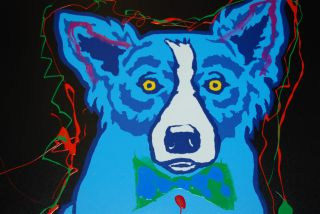 FTI George Rodrigue Blue Dog Original Hand Embellished RARE Print 1991