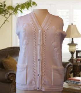 Womens White LDS Temple Sweater Vest Sleeveless