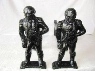 ANTIQUE FIGURAL GEORGE WASHINGTON SAND CAST IRON LARGE ANDIRONS FIRE