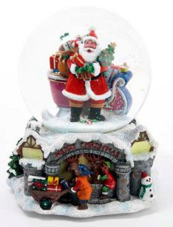African American Santa Claus with Sleigh Musical Snow Water Globe
