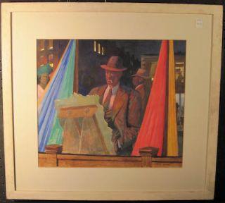 Original American Scene Realist Painting New York City 1930s