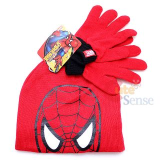 Marvel Spiderman Gloves Beanie Hat Set Red Big Face Knitted