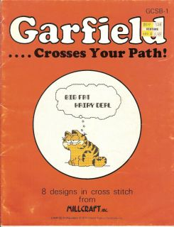 GARFIELD CROSSES YOUR PATH Cross Stitch book with 8 designs
