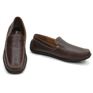 Geox Fast 11 Made in Italy Brown Leather Loafers Mocassins Shoes Men