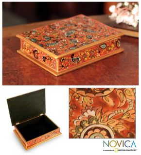 Passion Reverse Painted Glass Jewelry Box Novica Peru