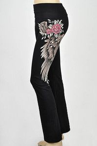 CRYSTAL ROSE ANGEL WINGS TATTOO BLACK YOGA PANTS LEGGINGS S & ED HARDY