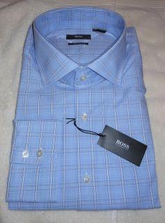 Boss Hugo Boss Black Label Gerald US Regular Blue Plaid Dress Shirt 15