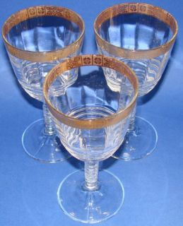 Federal Depression Glass Water Goblets 3 Ringed Stem Floral Gold Trim
