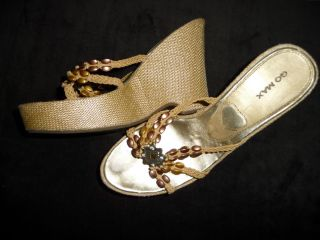 Go Max Women Shoes Wedges Pumps Platforms Gold Sandals Damen Schuhe