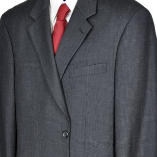 41R Jones New York Dark Gray Plaid Two Button Executive Wool Suit w