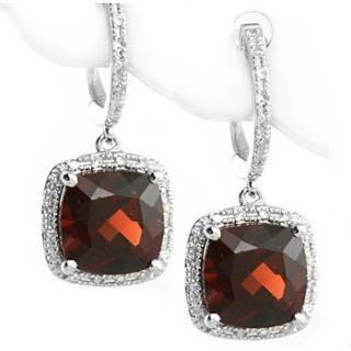 80ct VVS Red Garnet Diamonds Dangle Drop Earrings 14k White Gold