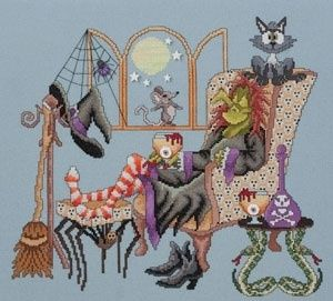 Come Sit A Spell Witch in Chair Glendon Place Halloween w Mouse Cat