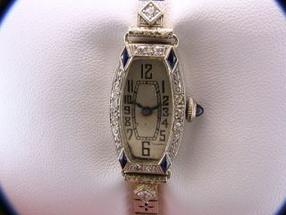 Vintage Antique Goering Diamond Sapphire Platinum Gold Ladies Art Deco