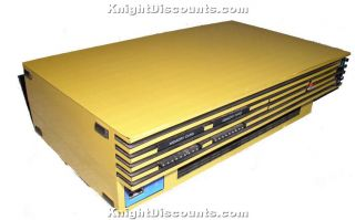 PS2 PlayStation 2 Slim Gold Skin Case Mod Sticker New