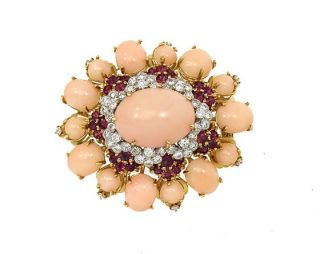 Opulent 18K Gold Diamonds Angel Coral Pin Brooch