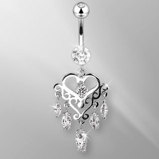 14k Solid White Gold Belly Button Navel Ring Body Jewelry Marquise Gem