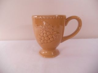 Pier One 1 Harvest Gold Coffee Mug Cup Embossed Grapes