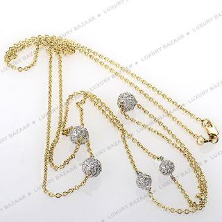 Roberto Coin 18K White Yellow Gold Diamond Ball Rope Necklace