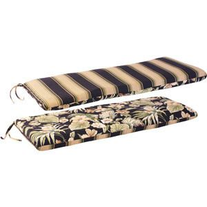 Reversible Outdoor Swing Glider Bench Cushion Chair Pad Floral Stripe