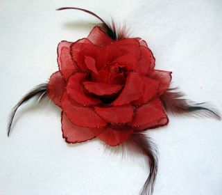 Red Glitter Rose with Feathers Hair Flower Clip and Pin