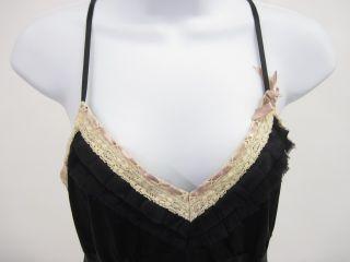 Gold Hawk Black Ivory Lace Trim Silk Camisole Top Sz S