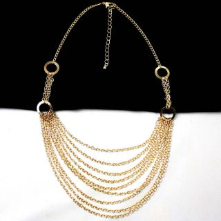 Gold Multi Layered Chain Circle Loop Retro Lady Statement Necklace
