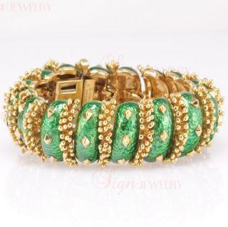 David Webb 18K Yellow Gold Green Enamel Bracelet