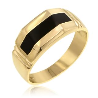 Mens 14k Yellow Gold Onyx Ring Band